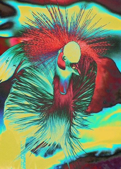 Crested Egret Greeting Card featuring the photograph Psychedelic Crested Egret by Richard Henne