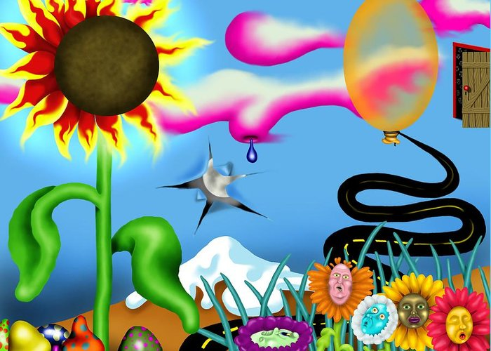 Surrealism Greeting Card featuring the digital art Psychedelic Dreamscape I by Robert Morin