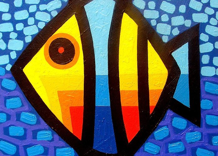 Abstract Greeting Card featuring the painting Psychedelic Fish by John Nolan