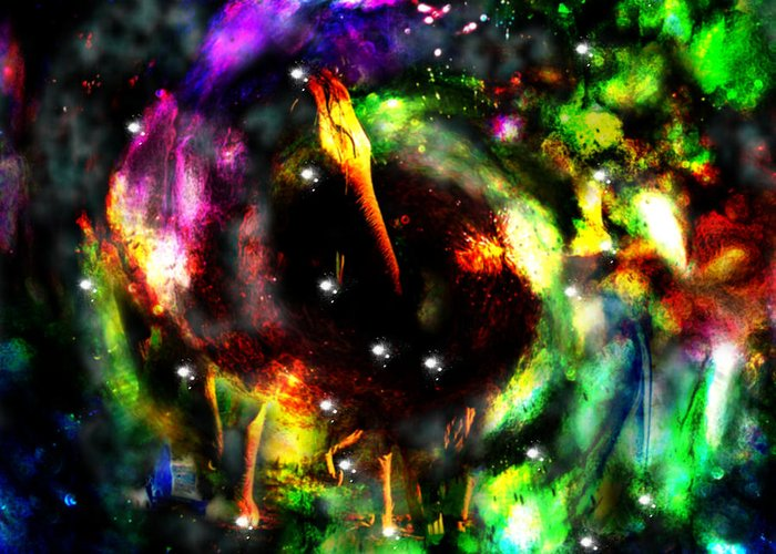 Psychedelic Rainbow Elephant Constellations Galaxy Nebula Universe Rainbow Colors Colourful Greeting Card featuring the digital art Psychedelic Rainbow Elephant Constellations by Abram Lopez