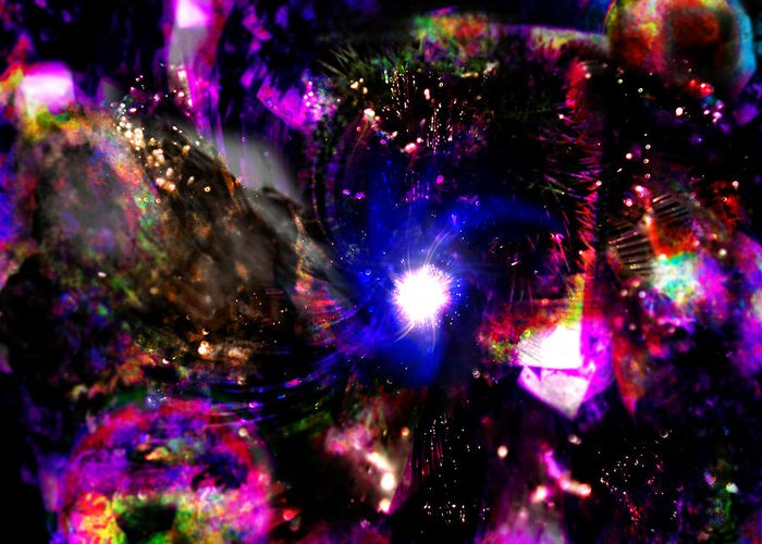 Psychedelic Rainbow Nebula Galaxy Universe Rainbow Colorful Colourful Stars Constellations Greeting Card featuring the digital art Psychedelic Rainbow Nebula Galaxy Universe by Abram Lopez
