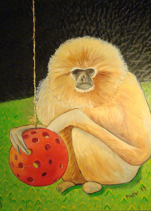 Animals Greeting Card featuring the painting Psychic Monkey by Scott Plaster