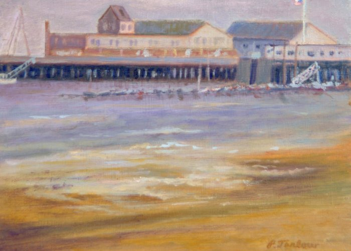 Ptown Greeting Card featuring the painting Ptown Fisherman's Wharf by Phyllis Tarlow