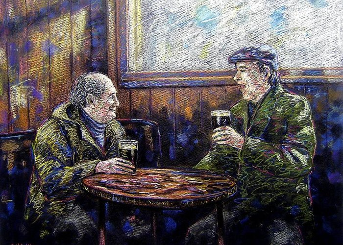 Pastel Greeting Card featuring the pastel Pub Parlance by John Nolan
