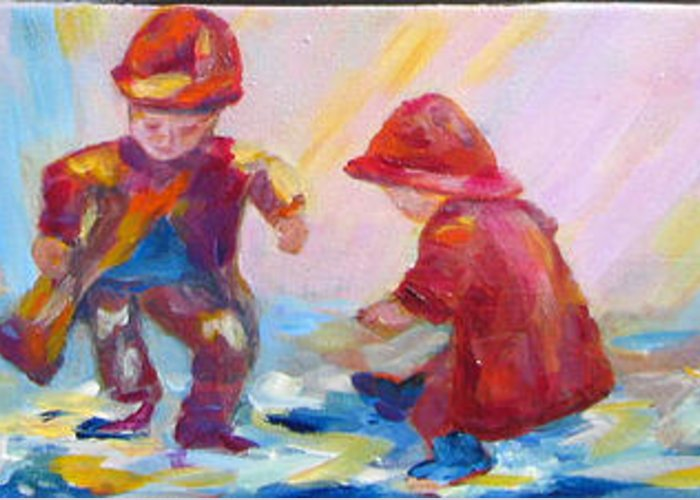 Kids Greeting Card featuring the painting Puddle Jumpers II by Naomi Gerrard