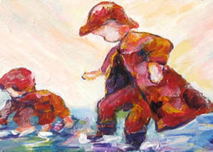 Mothers And Children Bonding Greeting Card featuring the mixed media Puddle Jumpers by Naomi Gerrard