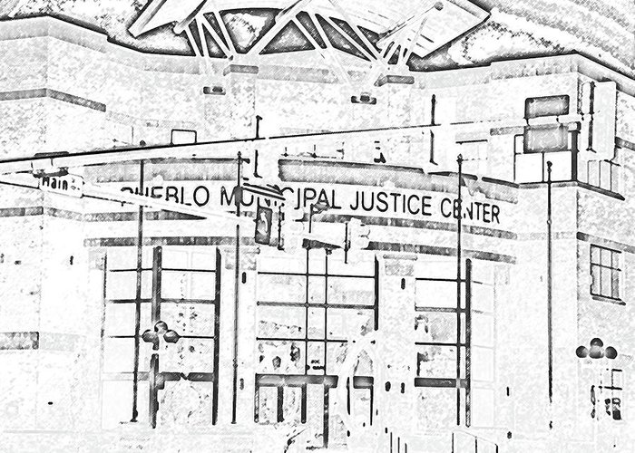 Abstract Greeting Card featuring the digital art Pueblo Municipal Justice Center 2 by Lenore Senior
