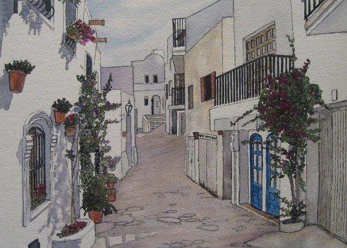 Spain Greeting Card featuring the painting Pueblo by Victoria Heryet