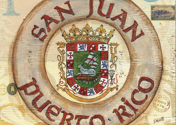 San Juan Greeting Card featuring the painting Puerto Rico Coat Of Arms by Debbie DeWitt