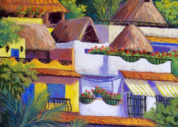 Landscape Greeting Card featuring the pastel Puerto Vallarta Hillside by Candy Mayer