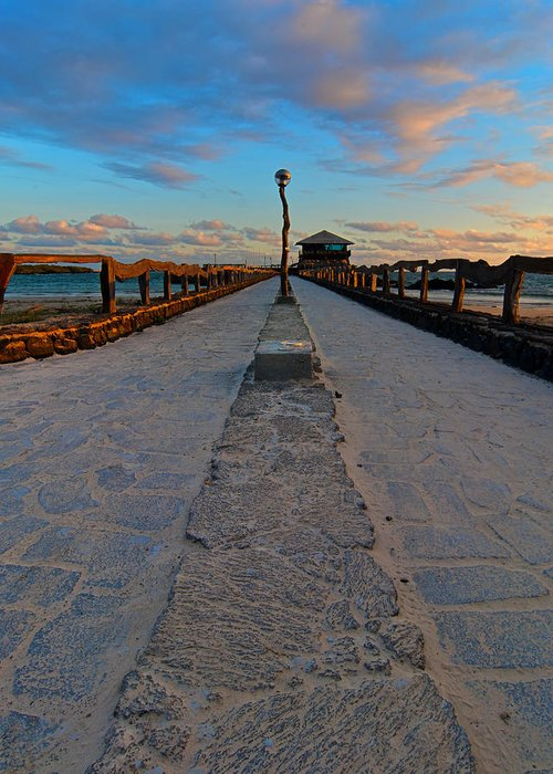 Puerto Villa Mil Greeting Card featuring the photograph Puerto Villamil Pier Galapagos by Andre Distel