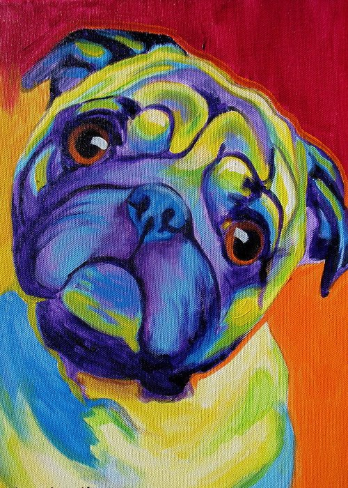 Pug Greeting Card featuring the painting Pug - Lyle by Alicia VanNoy Call
