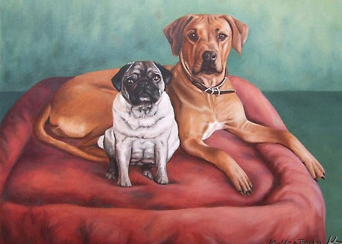 Dogs Greeting Card featuring the painting Pug And Rhodesian Ridgeback by Nicole Zeug