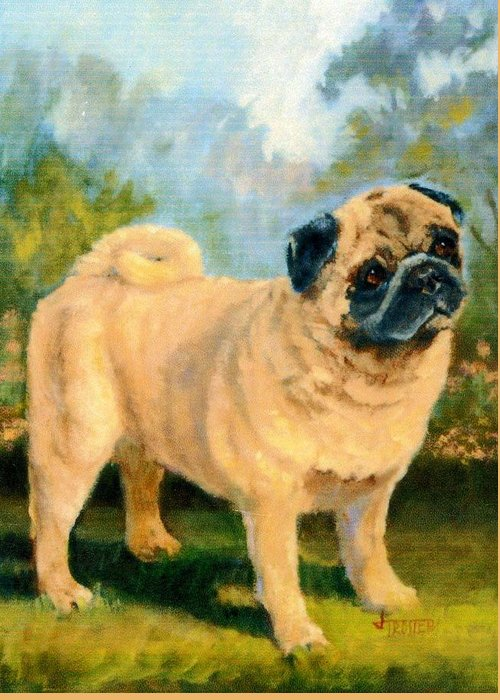 Animal Greeting Card featuring the painting Pug In The Park by Jimmie Trotter