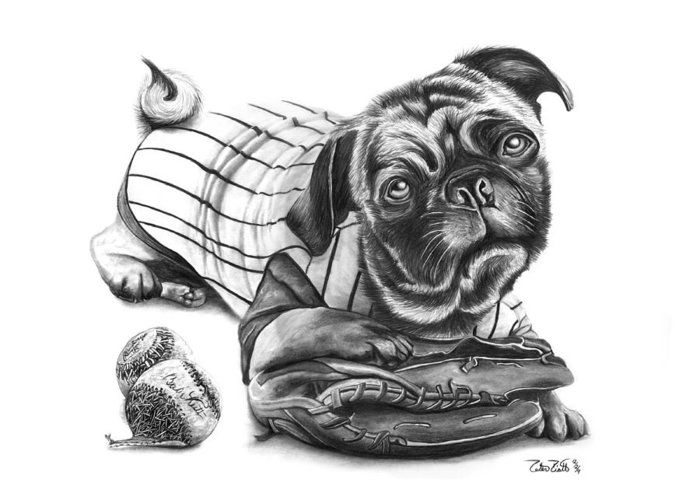 Pug Ruth Greeting Card featuring the drawing Pug Ruth by Peter Piatt