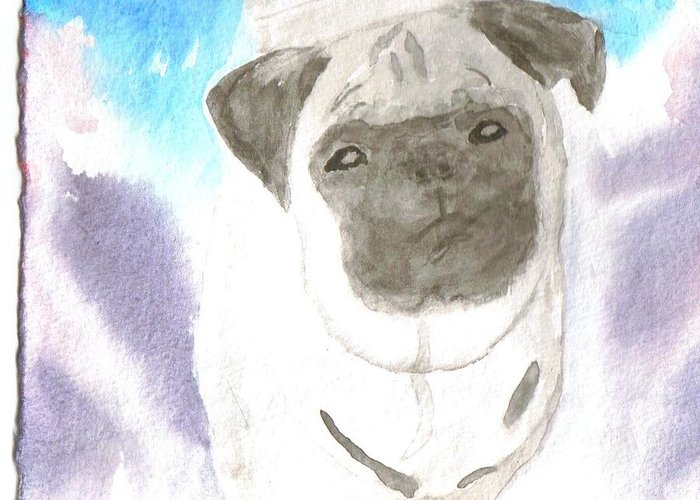 Pug Dog Watercolor Greeting Card featuring the painting Pug by Warren Thompson