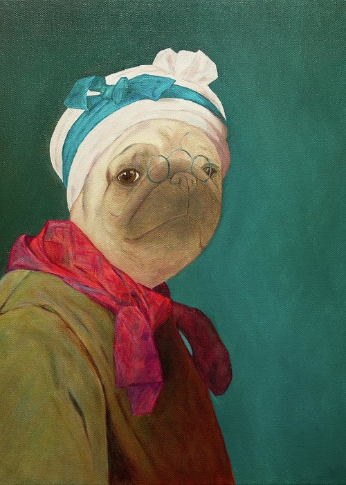 Pug Greeting Card featuring the painting Pugdin Self-portrait by Yuliia Ustymenko