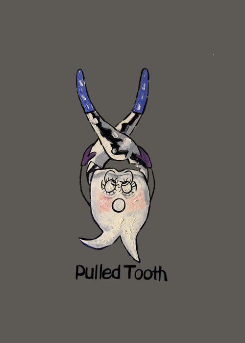 Pulled Tooth T-shirt Greeting Card featuring the painting Pulled Tooth by Anthony Falbo