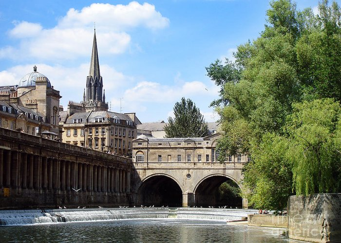 Ancient Greeting Card featuring the photograph Pulteney Bridge And Weir by Jane Rix