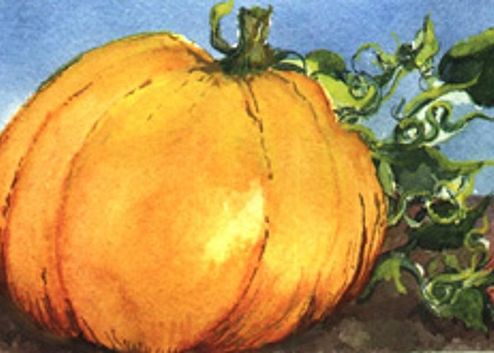 Art Greeting Card featuring the painting Pumpkin by Elle Smith Fagan