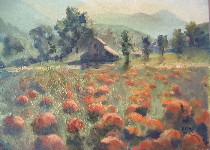 Fall Landscape Greeting Card featuring the painting Pumpkin Fields by Bryan Alexander