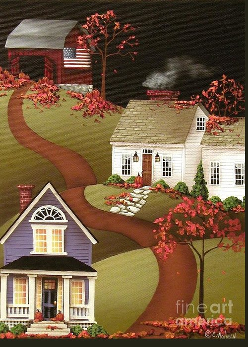 Art Greeting Card featuring the painting Pumpkin Harvest In Mapleton by Catherine Holman