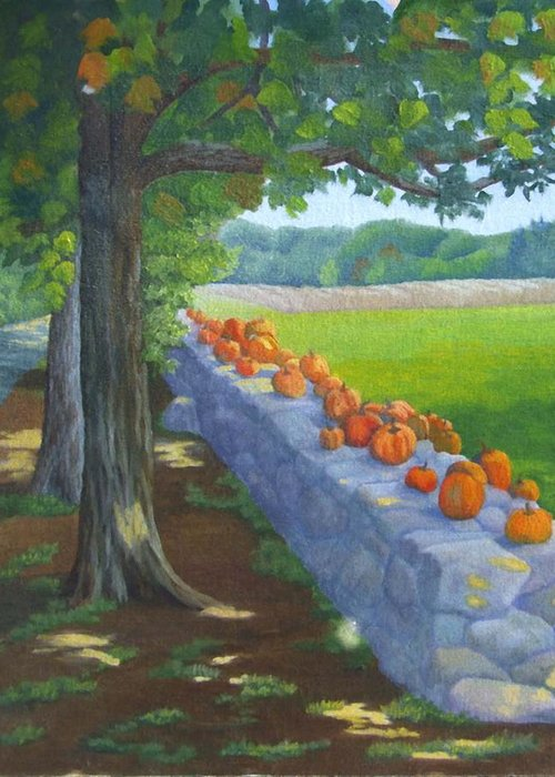 Pumpkins Greeting Card featuring the painting Pumpkin Muster by Sharon E Allen