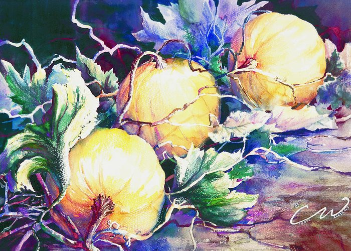 Pumpkins Greeting Card featuring the painting Pumpkin Time by Connie Williams