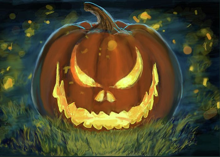 Halloween Greeting Card featuring the painting Pumpkinfire by Jennifer Hickey