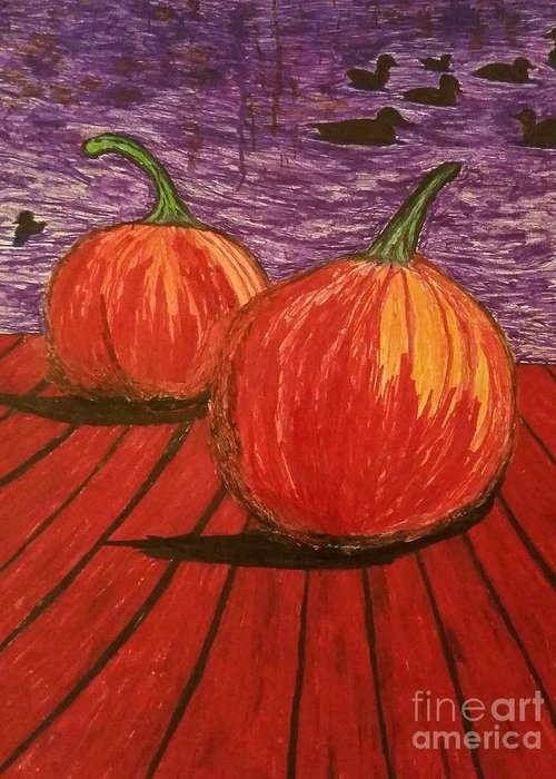 pumpkins Greeting Card featuring the drawing Pumpkins At The Dock by Ishy Christine MudiArt Gallery