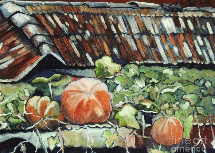 Pumpkin Paintings Greeting Card featuring the painting Pumpkins On Roof by Seon-Jeong Kim