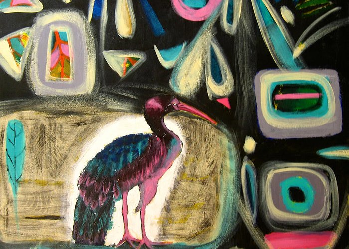 Ibis Greeting Card featuring the painting Puna Ibis by Aliza Souleyeva-Alexander