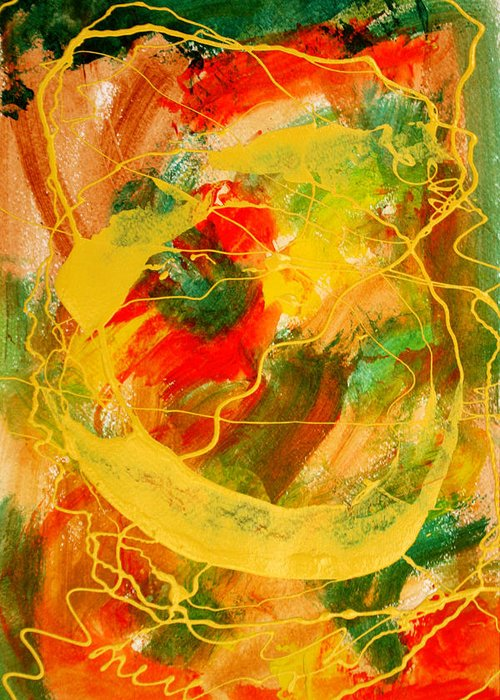 Abstract Greeting Card featuring the painting Punkin Patch by Mordecai Colodner