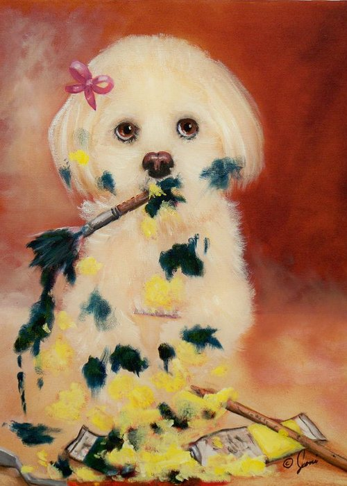 Portrait Greeting Card featuring the painting Pupcasso by Joni McPherson