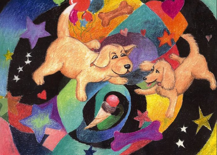 Puppy Greeting Card featuring the pastel Puppy Dog Dream by Larry Whitler