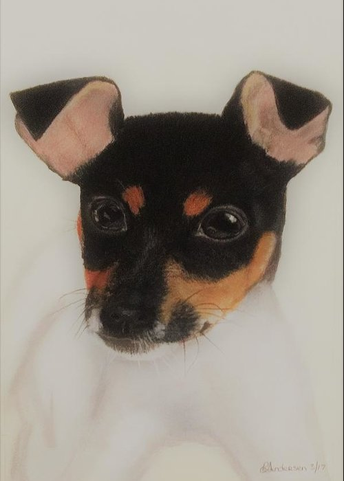 Dog Greeting Card featuring the pastel Puppy Foxie by Louise Andersen