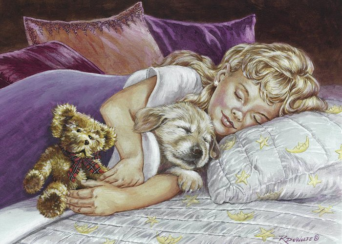 Teddy Bears Greeting Card featuring the painting Puppy Love by Richard De Wolfe