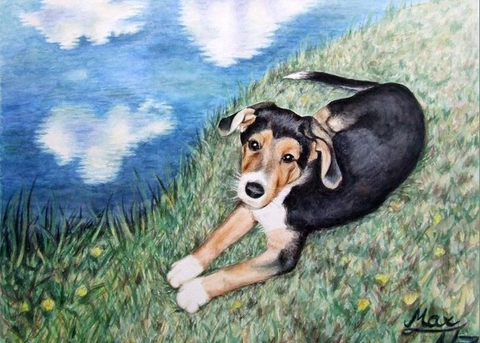 Dog Greeting Card featuring the painting Puppy Max by Nicole Zeug