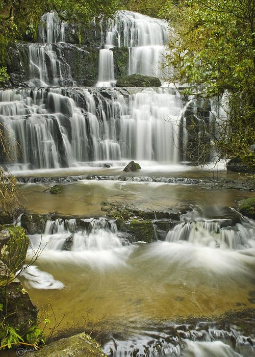 Water Greeting Card featuring the photograph Purakanui Falls by Andrea Cadwallader