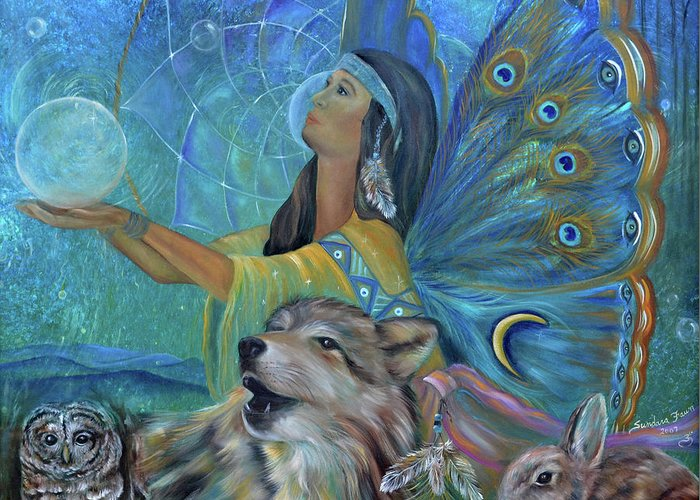 Native American Greeting Card featuring the painting Purification by Sundara Fawn