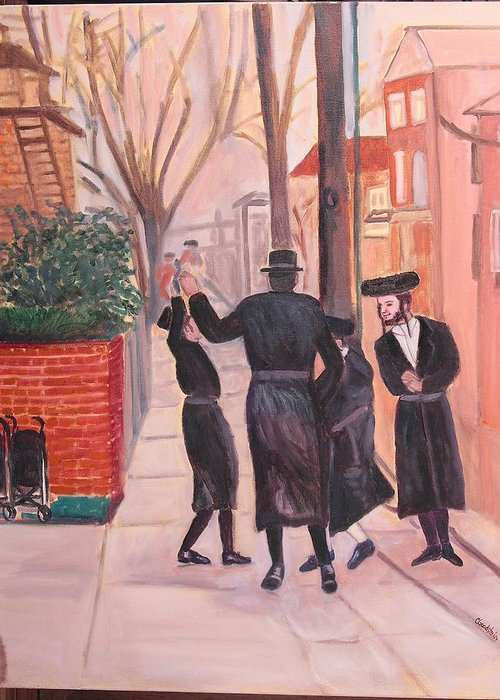Judaica Greeting Card featuring the painting Purim In Boro Park by Carla Goodstein
