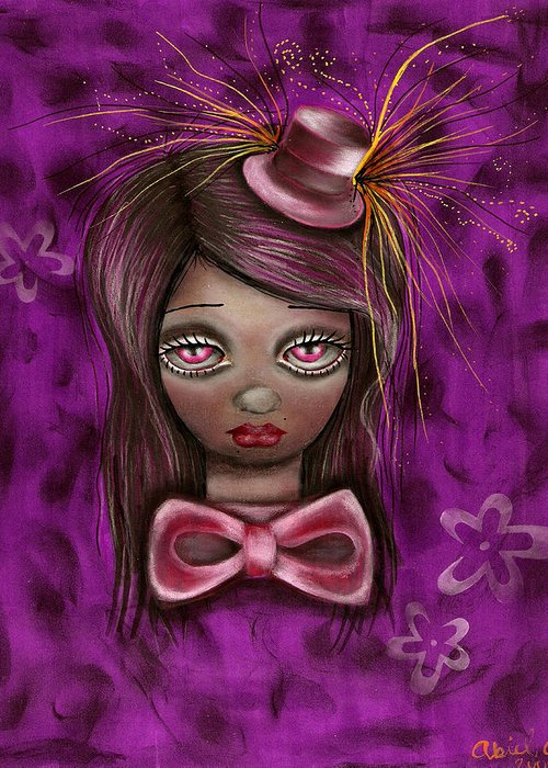 Mad Hatter Greeting Card featuring the painting Purple by Abril Andrade Griffith