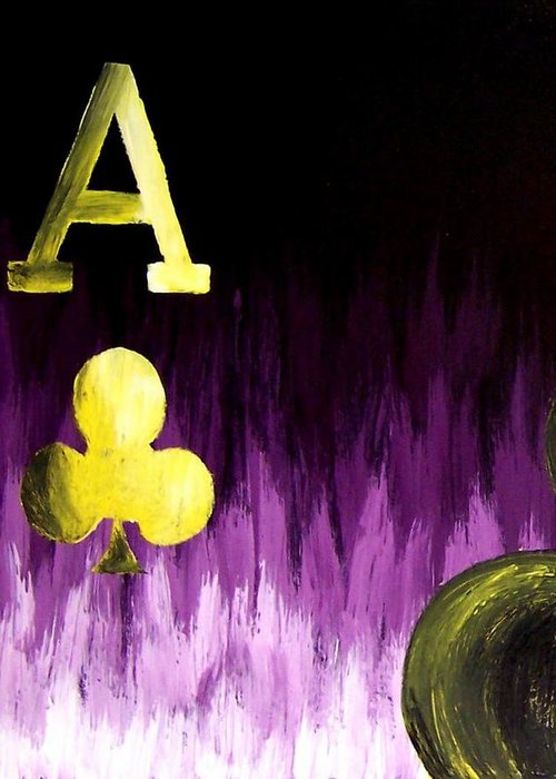 Purple Greeting Card featuring the painting Purple Aces Poker Art1of4 by Teo Alfonso