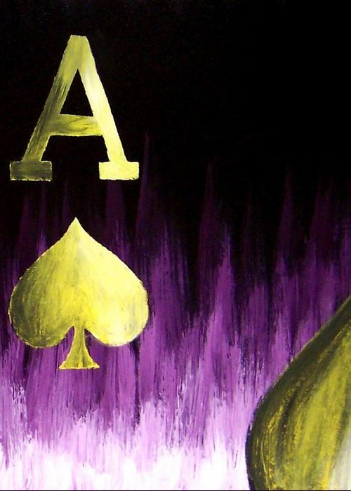 Greeting Card featuring the painting Purple Aces Poker Art4of4 by Teo Alfonso