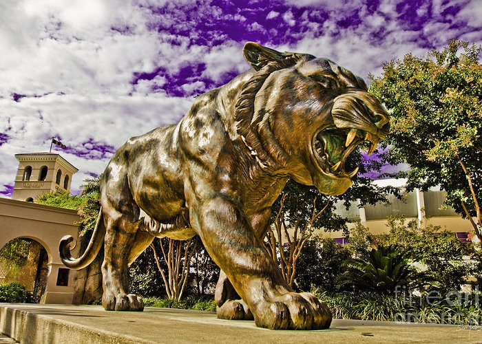 Statue Greeting Card featuring the photograph Purple And Gold by Scott Pellegrin