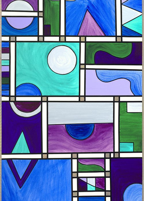 Abstract Greeting Card featuring the painting Purple-blue-green Abstract 1 by Patty Vicknair