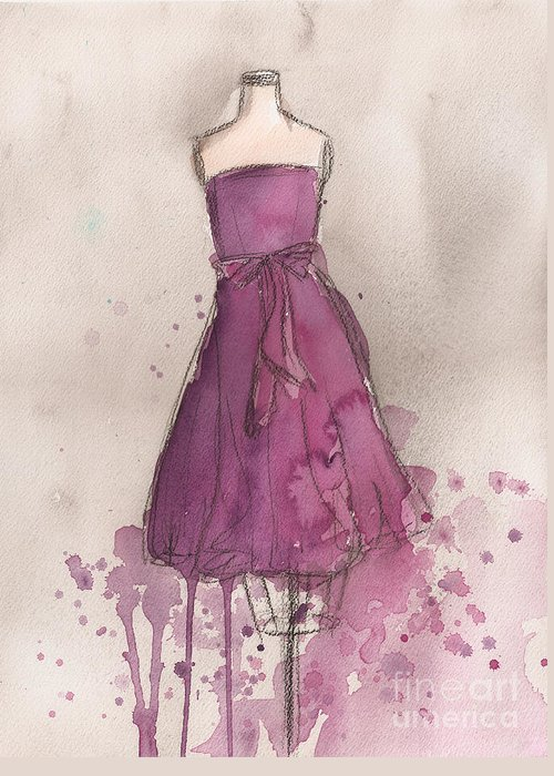 Purple Greeting Card featuring the painting Purple Bow Dress by Lauren Maurer