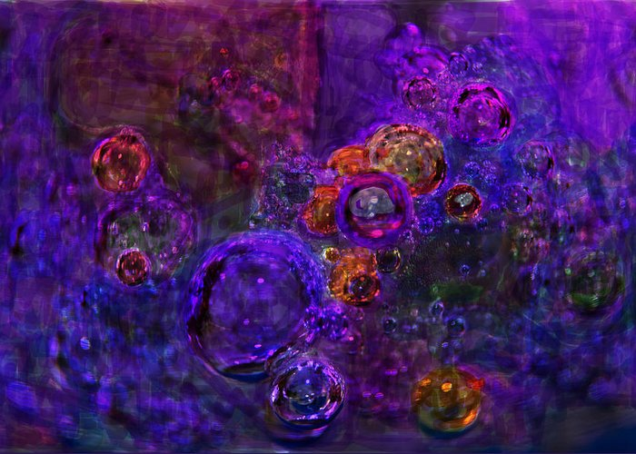 Digital Painting Purple Bubbles Greeting Card featuring the digital art Purple Bubbles Painting by Don Wright