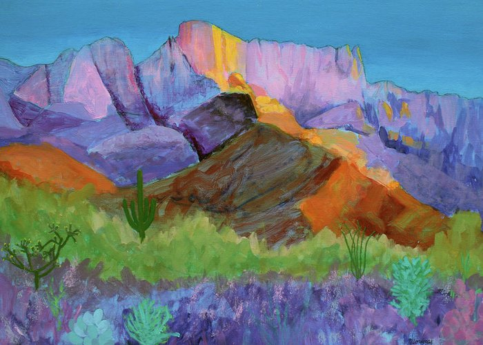 Landscape Greeting Card featuring the painting Purple Catalina by Mordecai Colodner