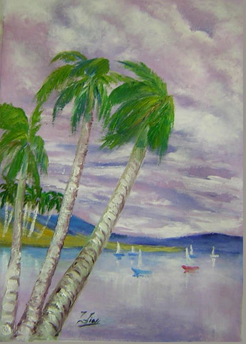 Seascape Greeting Card featuring the painting Purple Clouds by Lian Zhen